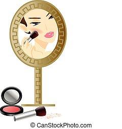 nő, tükör