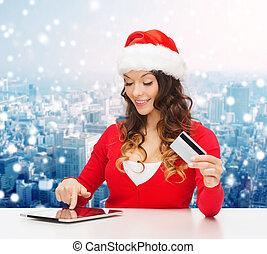 nő, tabletta, hitel, számítógép, mosolygós, kártya