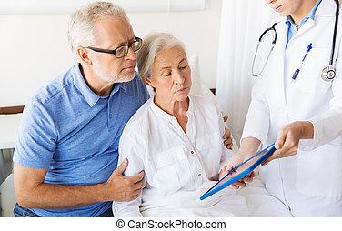 nő, tabletta, orvos, kórház, számítógép, idősebb ember