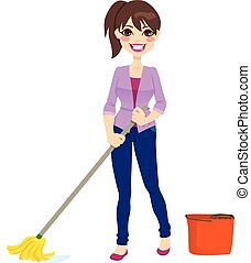 nő, takarítás, emelet