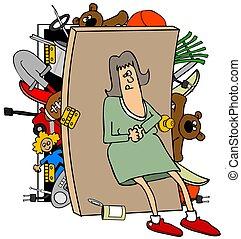 nő, tele, beépített szekrény