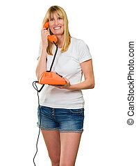 nő, telefon, birtok, boldog
