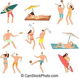 nő, tenger, bágyasztó, emberek, női fürdőruha, vektor, vecation., betűk, tengerpart, ember