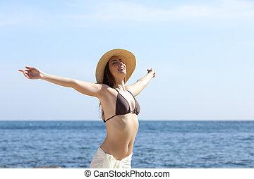 nő, tengerpart, fegyver, boldog, friss, emelés, lélegzés, levegő