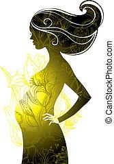 nő, terhes, árnykép
