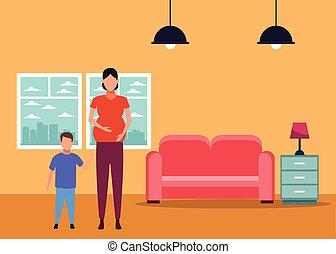nő, terhes, betű, avatar, gyermek, karikatúra