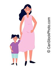 nő, terhes, gyermek