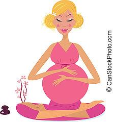 nő, terhes, jóga