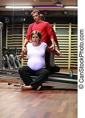 nő, terhes, streching