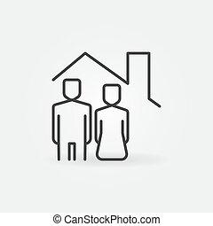 nő, tető, épület, alatt, ember, ikon, vektor, egyenes, fogalom