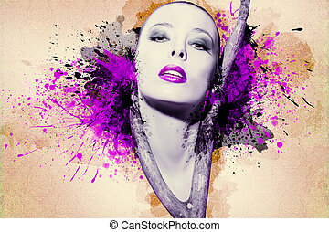 nő, tinta, artwork, gyönyörű