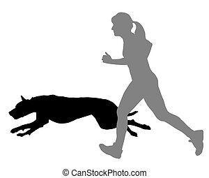 nő, továbbmegy, kutya