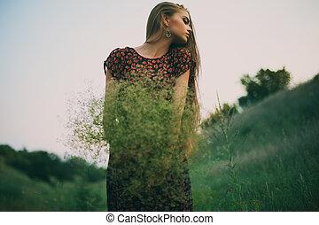 nő, vad virág, fiatal, csokor, gyönyörű