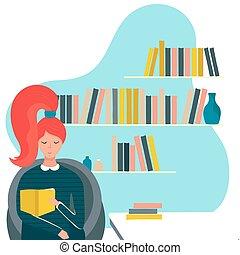 nő, vektor, könyvtár, betű, felolvasás, ábra, karikatúra, leány, könyv