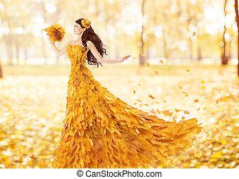 nő, zöld, ősz, mód, művészi, bukás, ruha, juharfa