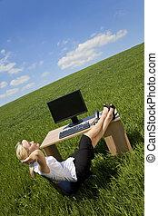 nő, zöld, hivatal, bágyasztó