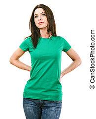nő, zöld ing, tiszta