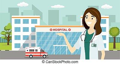 női, épület, vagy, autó, orvos, mentőautó, európai, klinika, ápoló