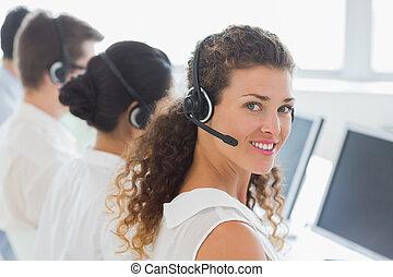 női, ügynök, colleagues, vevőszolgálat