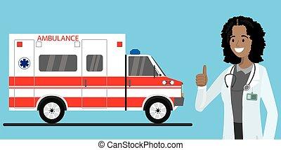 női african, autó, orvos, mentőautó, amerikai