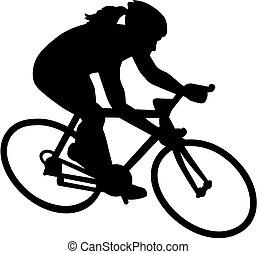 női, bicikli, bicikli, biciklista
