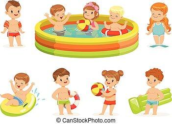 női fürdőruha, boldog, gyűjtés, tutajoz, apró, kicsi, csinos, pocsolya, karikatúra, színes, birtoklás, víz, móka, betűk, felfújható, gyerekek