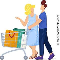 női woman, pár, terhes, lakás, élelmiszer áruház, feleség, vektor, férj, jár, bevásárlás, elszigetelt, hím, fedett sétány, targonca, white., ábra, bájos