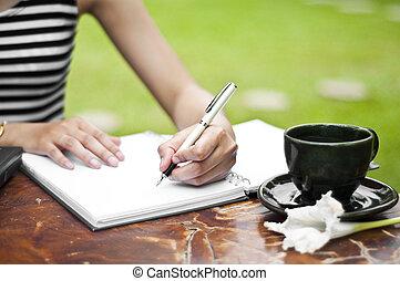 női, writing., kéz