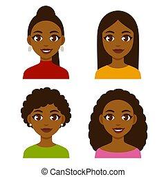 nők, állhatatos, fekete