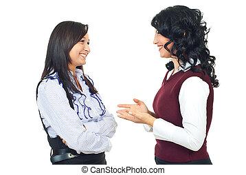 nők, beszélgetés, boldog, birtoklás, két