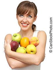 nők, gyümölcs