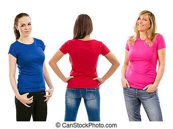 nők, három, ing, tiszta
