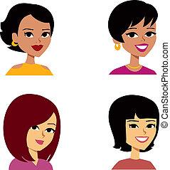 nők, karikatúra, avatar, multi-ethnic