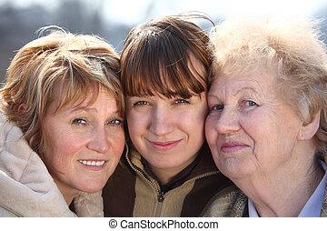 nők, nemzedék, portré, egy, család, három
