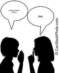nők, súg, mond, shh, titkos, árnykép