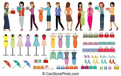 nők, támasz, bolt, állhatatos, öltözet, cipő