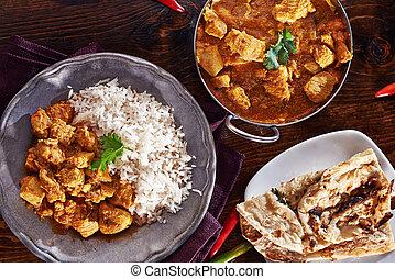 naan, basmati, tál, balti, indiai, rizs, erős indiai fűszer, étkezés