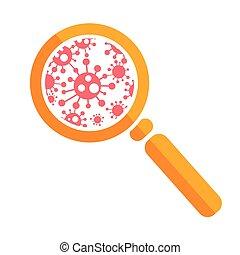 nagyítóüveg, baktérium, ikon
