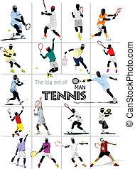 nagy, állhatatos, ember, player., tenisz, colo