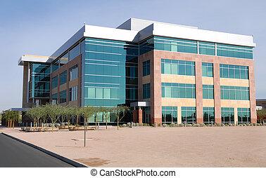 nagy épület, modern, hivatal