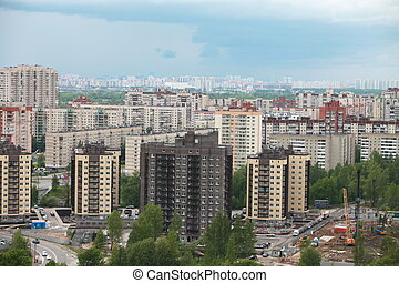 nagy, új, város, épületek