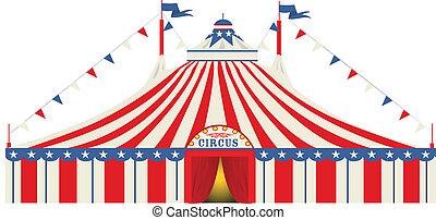 nagy, amerikai, cirkusz, tető