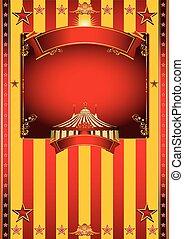 nagy, cirkusz, sárga, poszter