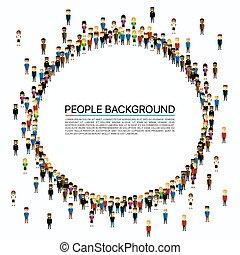 nagy csoport, circle., emberek