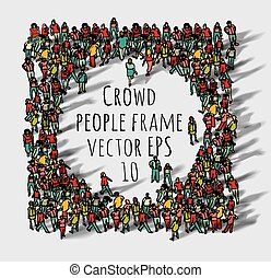 nagy, csoport, frame., tolong, emberek