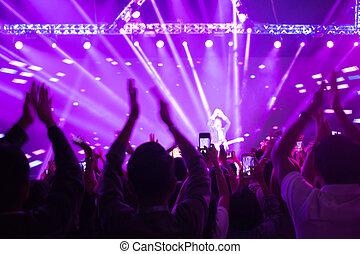 nagy, egyetértés, csoport, tolong, fogalom, új, életlen, ünnep, misét celebráló, háttér, év, móka, fél, élvez