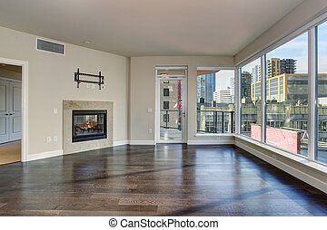 nagy, eleven, fireplace., szoba, üres