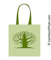 nagy fa, táska, tervezés, zöld, -e
