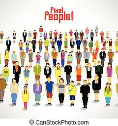 nagy, gyűjt, csoport, emberek