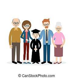 nagy, gyermek, család, diplomás